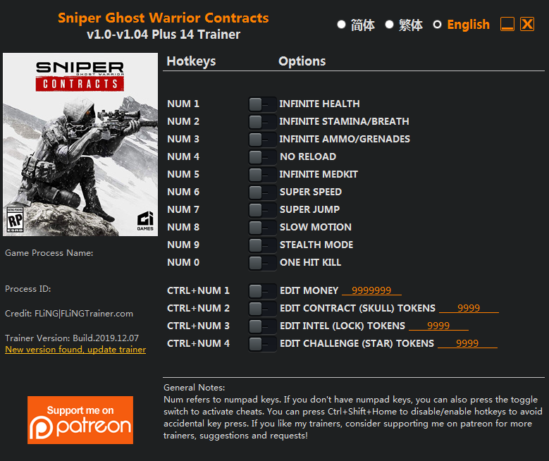 Sniper Ghost Warrior Contracts v1.0-v1.04 (+14 Trainer) FLiNG