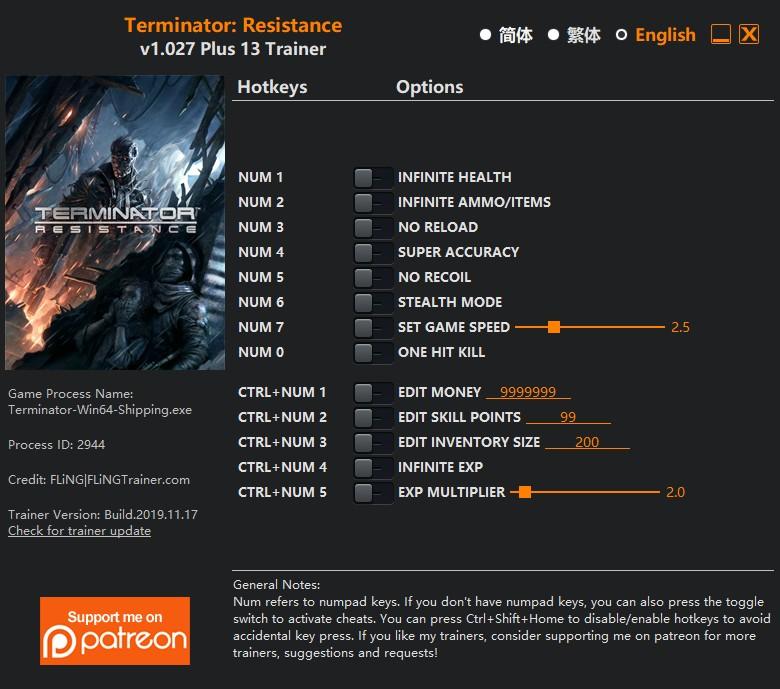 Terminator Resistance v1.027 Plus 13 Trainer FliNG