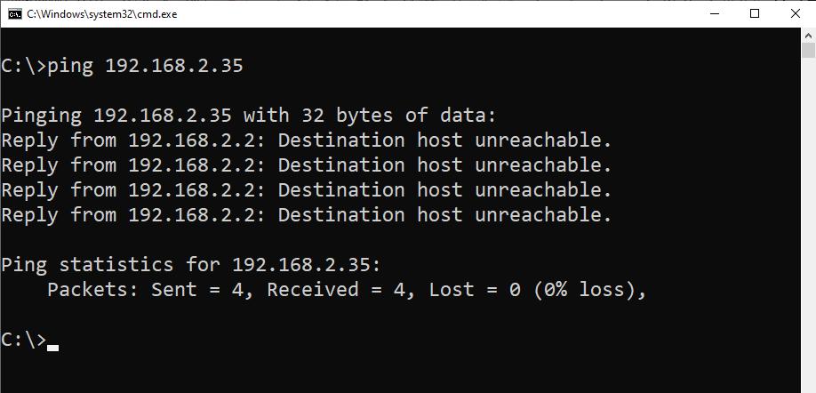 پاسخ Destination Host Unreachable